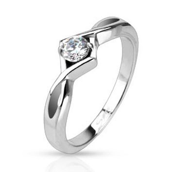Single Knotted Frame Prong CZ Solitaire Band Ring Stainless Steel