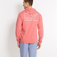 Long-Sleeve Whale Hooded Graphic Pocket T-Shirt