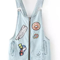 Cartoon Embroidered Blue Zip Up Front Denim Pinafore Dress