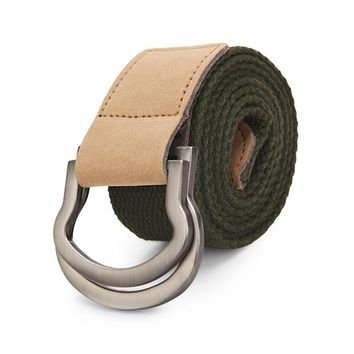 Men Double Ring Loop Canvas Belt Buckle Strap Casual Solid Color