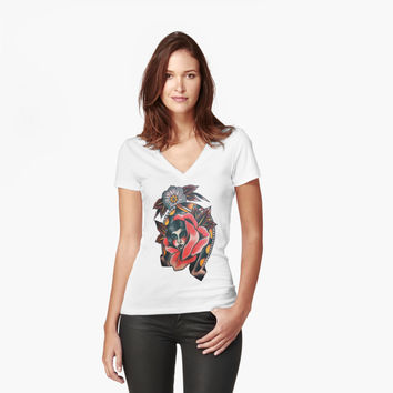'girls' Women's Fitted V-Neck T-Shirt by Grace354