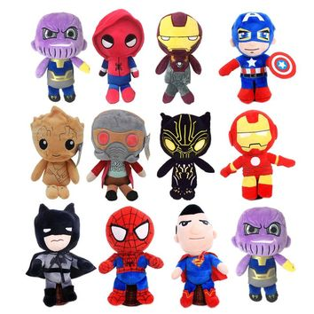 5pcs/lot 25cm Soft Black Panther Spider man Batman stuffed dolls groot toy The Avengers Thanos Plush toys gifts for Kids