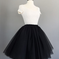 Black Tulle skirt- Adult Bachelorette Tutu- black tutu, adult tutu- any length
