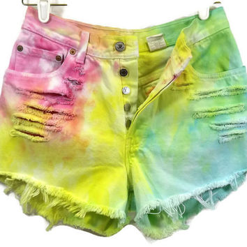 Vintage High Waisted Denim Cut Off Jean Shorts HighWaisted Blue Pink Yellow & Green Tie Tye Dyed Denim Slashed Frayed Frayed Button Fly