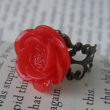 Red flower ring -Flower ring- Red rose ring- Flower ring- Red hot- Red rose- Fashion ring