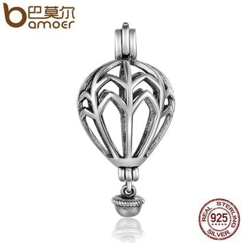925 Sterling Silver Air Balloon Cage Pendant Fit Chain Necklaces for Women Authentic Silver Jewelry SCP002