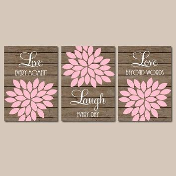 Pink Brown Nursery Wall Art, CANVAS or Prints Live Laugh Love, Baby Girl Nursery Decor, Flower Burst Set of 3 Faux Wood Planks, Bedroom Art