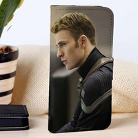 Captain America Steve Rogers | Marvel | The Avengers Age Of Ultron | custom wallet case for iphone 4/4s 5 5s 5c 6 6plus 7 case and samsung galaxy s3 s4 s5 s6 case