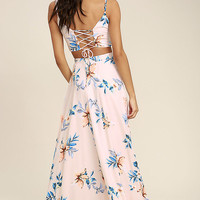 Barefoot at the Beach Light Peach Print Two-Piece Maxi Dress