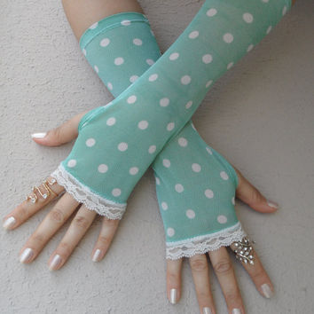 Green polka dots gloves, viktorian gloves Long gloves, Goth Lace Gloves, Vampire, Victorian, Wedding, Steampunk, FREE SHIP