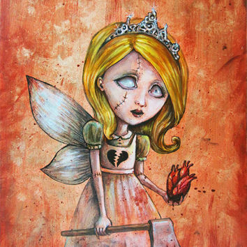 Twisted Valentine's Day - Zombie Princess with Anatomical Heart - Fantasy Art Print