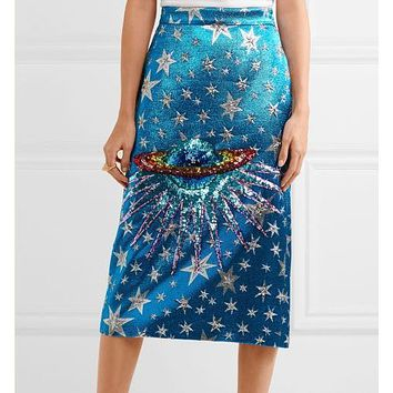 SS2018 Spring Women Runway shimmering rainbow Sequin-embellished planet Saturn Star stunning blue metallic jacquard midi skirt