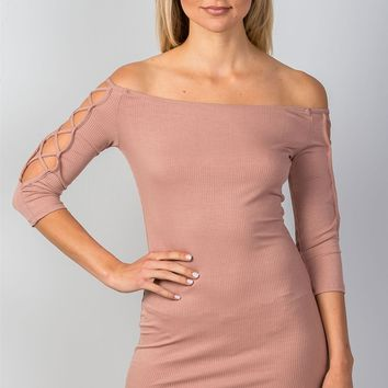 Ladies off the shoulder criss-cross sleeves bodycon mini dress