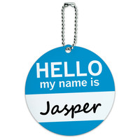 Jasper Hello My Name Is Round ID Card Luggage Tag