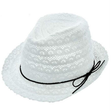 Womens White Cotton Crochet Lace Fedora Hat Black Leather Cord Accent UV Protection 50+