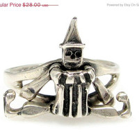 SALE Vintage Sterling JUMPING JACK Ring Silver Clown Figure Articulated Moveable 5.75