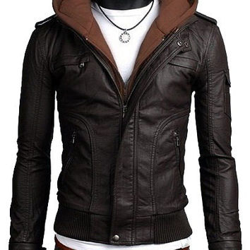 handmade Men brown fabric hooded Leather Jacket rib bottom, men leather jacket hoodie