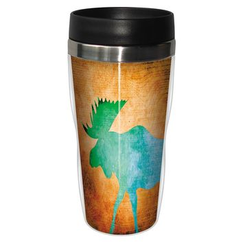 Vibrant Moose Artful Travel Mug - Premium 16 oz Stainless Lined w/ No Spill Lid