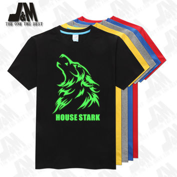Games of Thrones House Stark of Winterfell Wolf T Shirt for Women Men Short Sleeves Glowed Tee S-6XL
