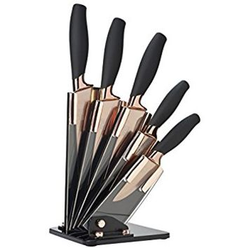 Taylors Eye Witness Brooklyn 5 Piece Fan Design Knife Block in Rose Gold