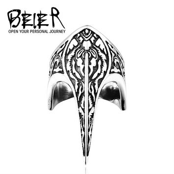 BEIER Unique Punk Armor Long Ring Vintage Stainless Steel Weapon Jewelry Animal Ring BR8-296
