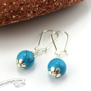 Simple turquoise earrings, ball earrings, small dangles, hippie earrings, yoga jewelry, turquoise Howlite earrings, funky earrings, bohemian
