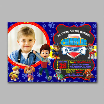 ADF 288 Paw Patrol with Photo Inspired Kids Birthday Invitation Party Design