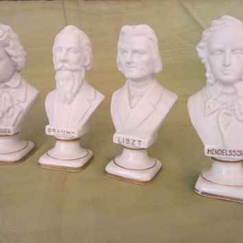 Composer Busts By Andrea Japan White Porcelain Figurines