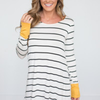 Striped long-sleeved dress autumn and winter