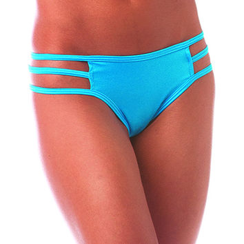 Pole Dancers Turquoise Stripe Side Scrunch Bottom