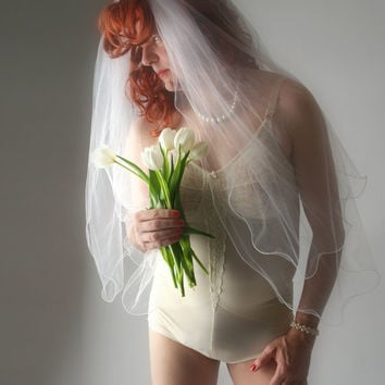 Crossdresser Bridal Fantasy Nude Girdle with Wedding Veil and Sash