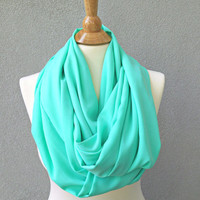 Mint Green Infinity Scarf  Fashion Scarf Circle Scarf Loop Womens Accessories