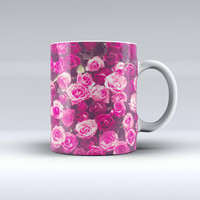 The Vibrant Pink Vintage Rose Field ink-Fuzed Ceramic Coffee Mug