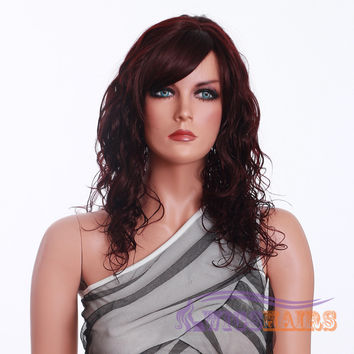 """18"""" Long Curly with Bangs Synthetic Wigs for Women Basic Cap Auburn"""