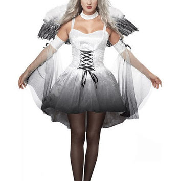 Strappy Sheath Skater Angel Wings Costume Set