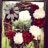 Alabama houndstooth large grapevine wreath