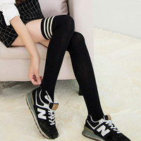 2015 Japan Style Black Sexy shaping Stockings women Winter Over Knee Leg Warmer girl Cotton Pantyhose student Stocking