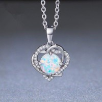 Love!Women Fashion Heart Silver Round White Fire Opal Pendant Necklace Jewelry
