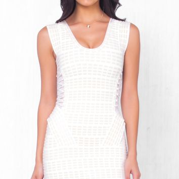 Indie XO Lady in Charge White Beige Sleeveless Scoop Neck Peplum Bandage Dress with Mesh Side Accents- Just Ours!