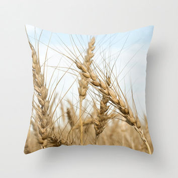 Wheat Field Pillow Cover Home Decor Cushion Cover Photography Print Polyester Tree Branches Apples Golden Blue Red Brown