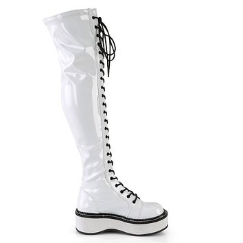 Demonia White Thigh-High Lace-Up Boot with Outer Metal Zipper