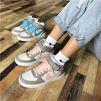 """""""Nike Air Force"""" All-match Fashion Casual  Letter High Help Plate Shoes Couple Sneakers"""