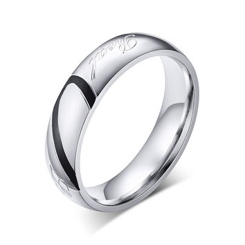 Love heart couple ring - stainless steel