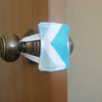 Nursery Door Muffler / Silencer - Blue Chevron