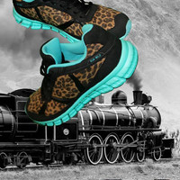 Run Wild Leopard and Turquoise Tennis Shoes