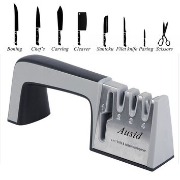 Knife Sharpener 4 in 1 Diamond Coated & Fine Ceramic Rod Knife Shears and Scissors Sharpening System Stainless Steel Blades