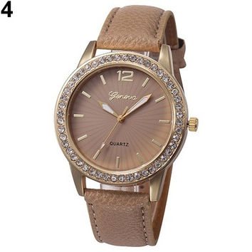 Ladies Rhinestone Faux Leather Analog Quartz Dress Wrist Watch [8833441420]