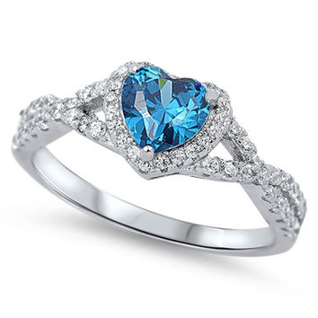 Sterling Silver CZ Simulated Blue Topaz and Simulated Diamond Heart Halo Ring 8MM