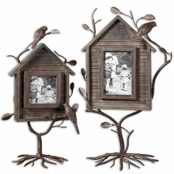 2 Picture Frames - Dark Walnut Finish