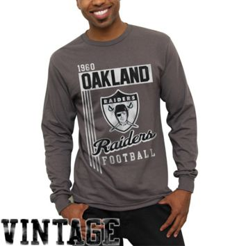 Oakland Raiders Vintage Vertical Lines Long Sleeve T-Shirt - Charcoal